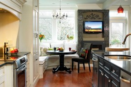 Shape a small dining space in the kitchen corner [Design: The Sky is the Limit Design]