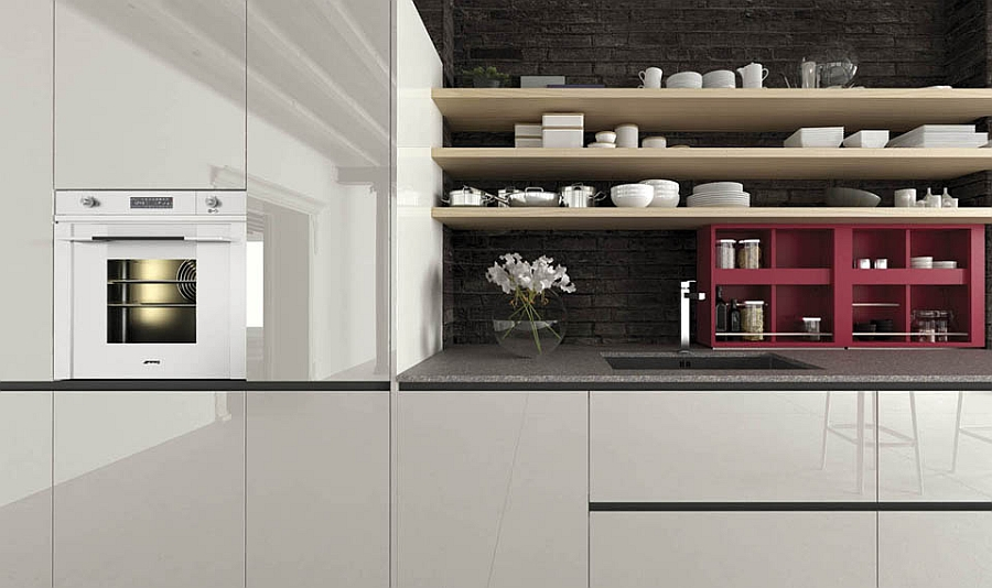 Simple floating open shelves for the efficient contemporary kitchen