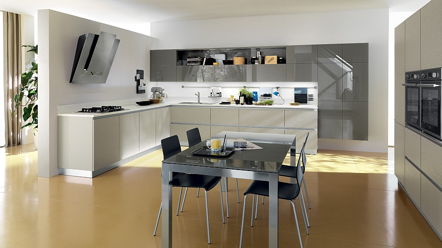 Simple straight lines used to shape creative kitchen units
