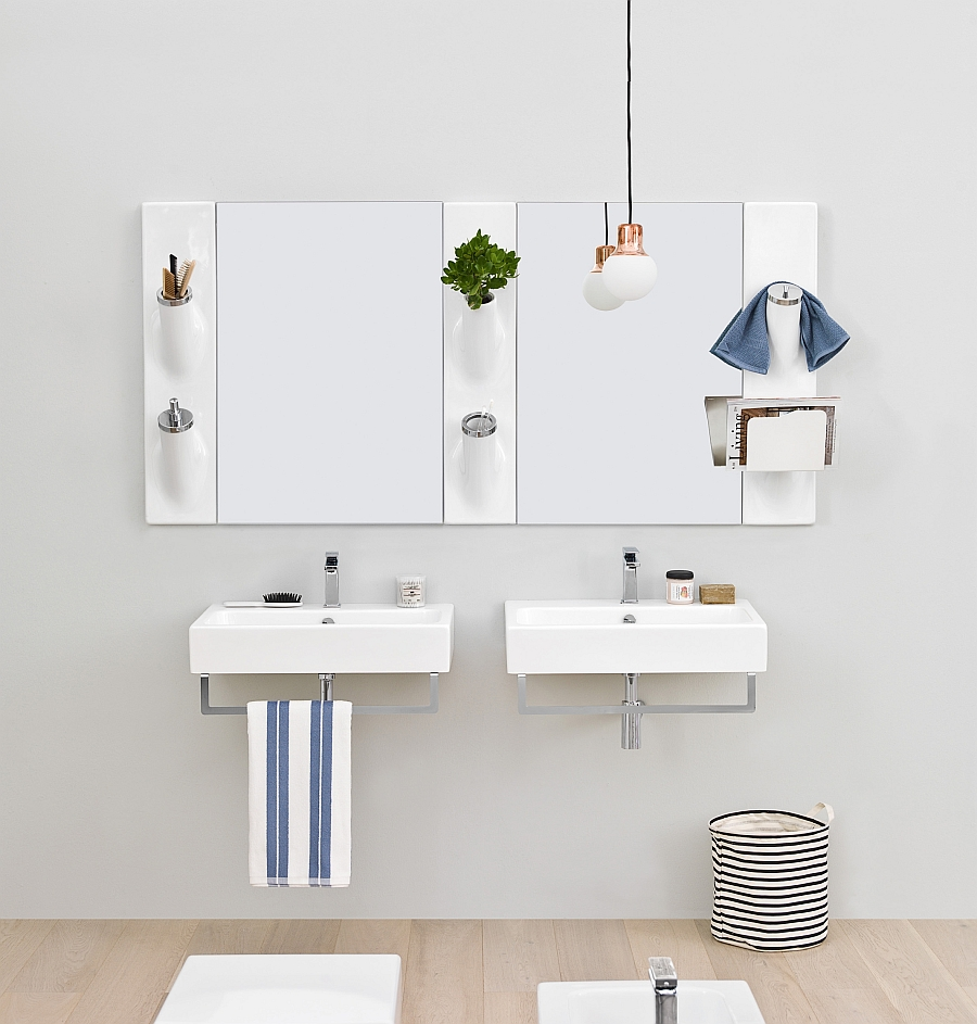 Sleek wall-mounted washbasins for the small modern bathroom