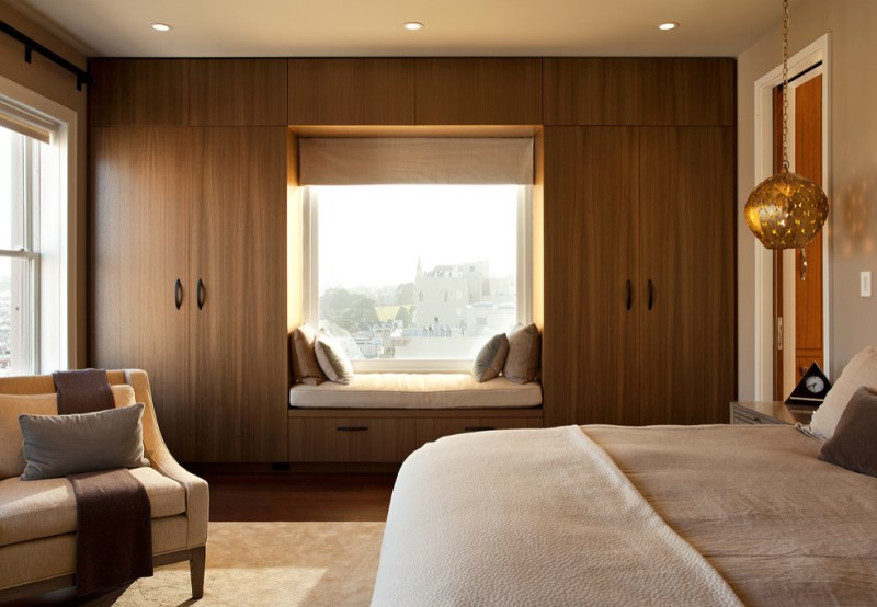 View in gallery Sleek window seat in a modern bedroom
