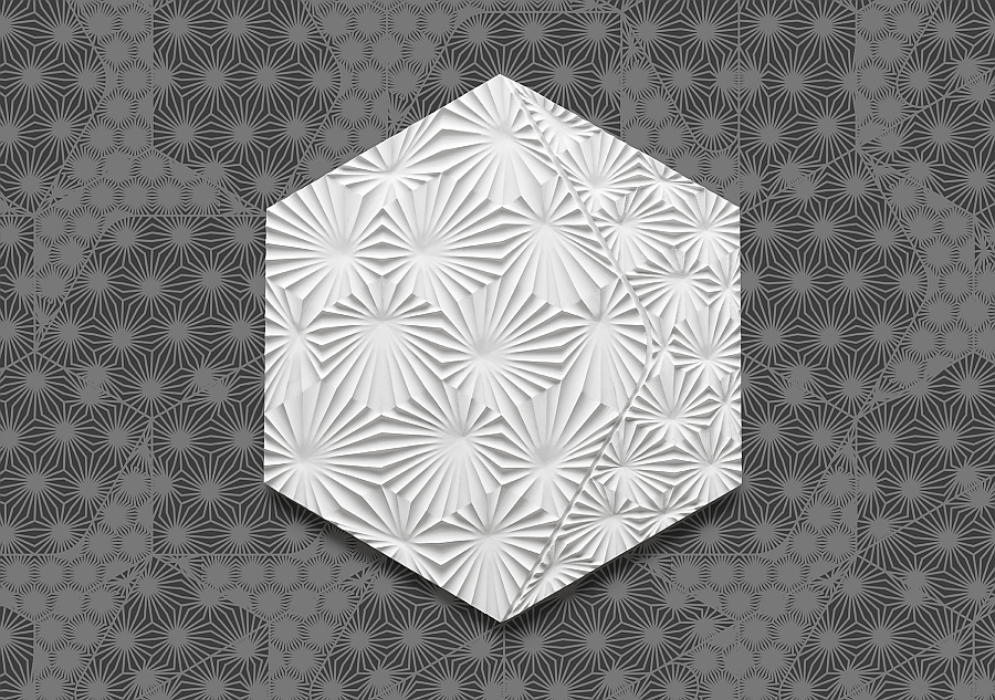 Smart and trendy concrete tile in white with creative pattern