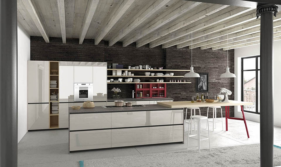 Smart kitchen island with an extended serving area creates a beautiful social kitchen