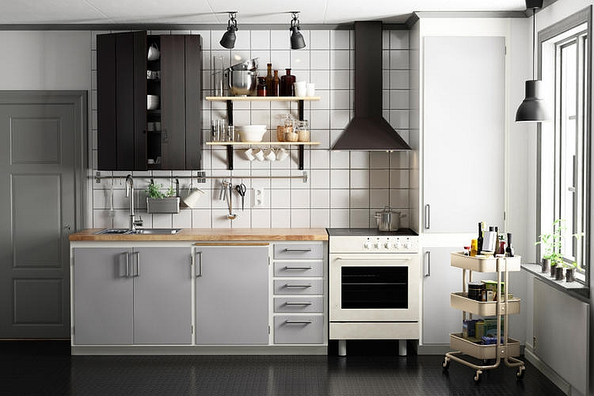 Smart modern kitchen with Ikea prodcuts composed using CG