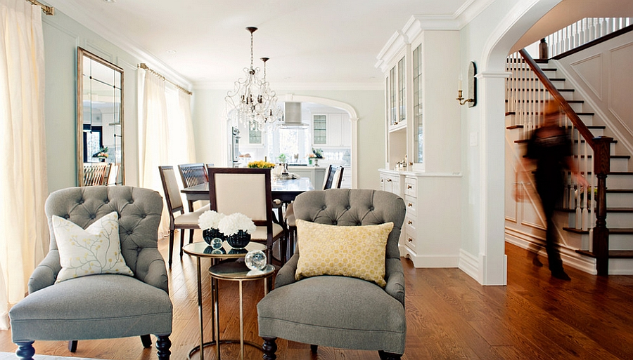 Smart nesting tables complement the color scheme of the room perfectly [By: Elizabeth Metcalfe Interiors & Design]