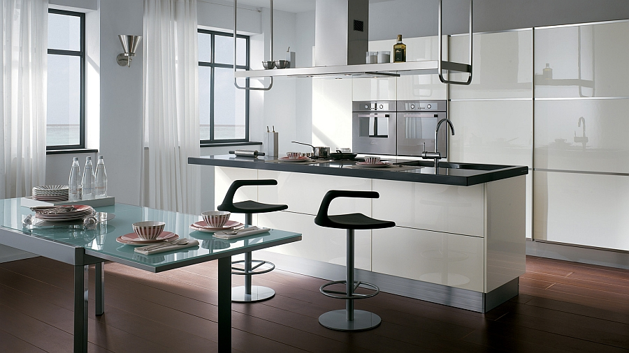 Sophisticated kitchen composition with smart snack area Classy Contemporary Kitchen Offers Refined, Innovative Space Solutions