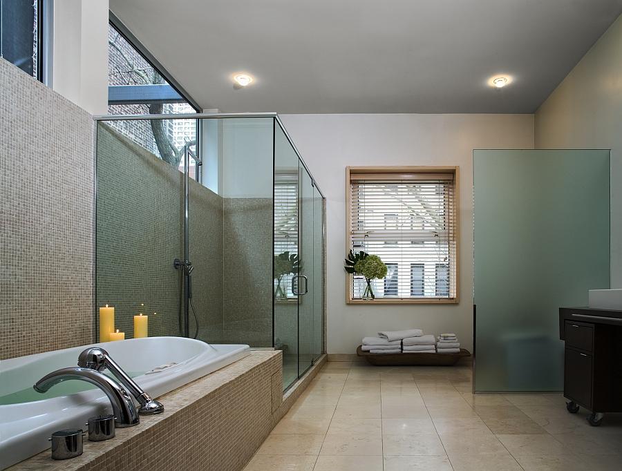 Spa-like modern bath with glass shower enclosure