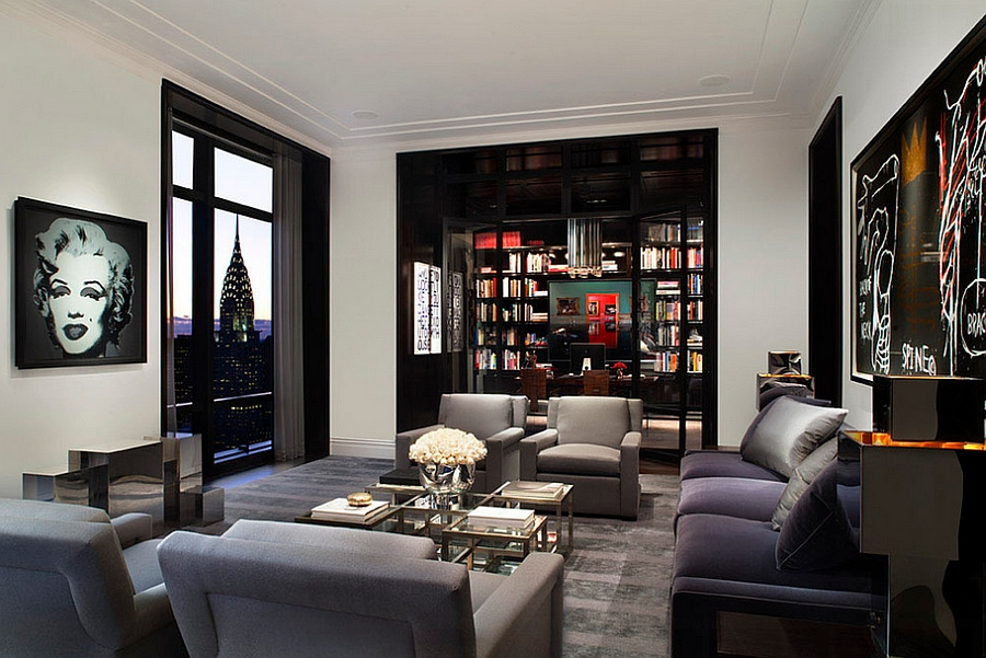 Spectacular view of NYC Skyline adds to the appeal of the living room [Design: Mark Cunningham]