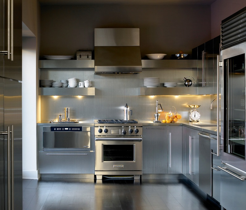 Stainless steel kitchen with open shelving