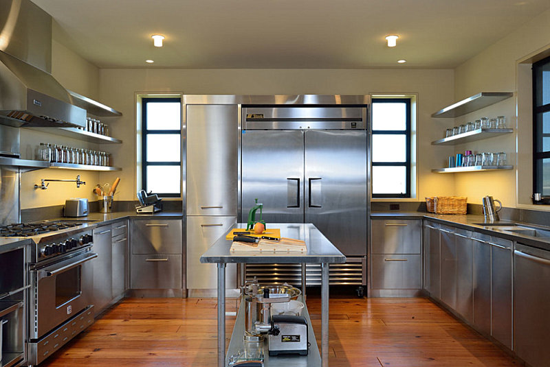 Stainless Restaurant Cabinets In Kitchen