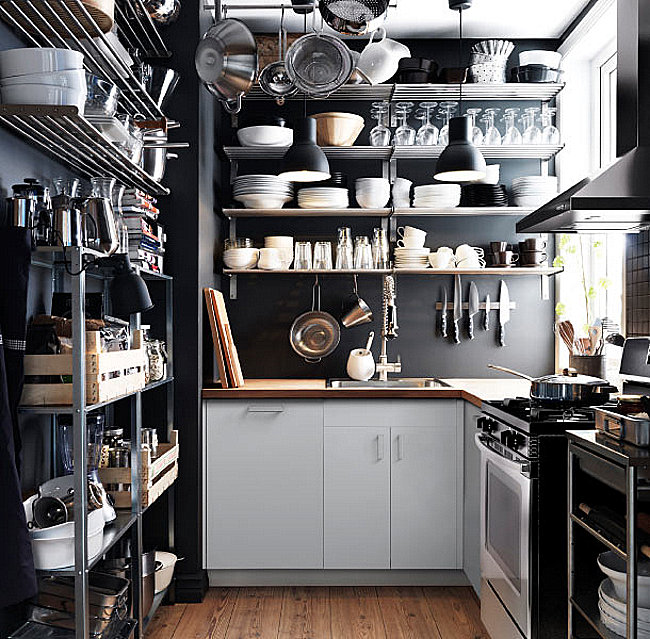Stainless steel shelving in an IKEA kitchen