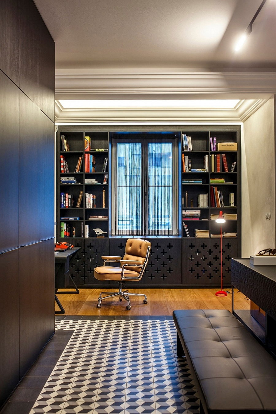 Stylish and smart home office in black