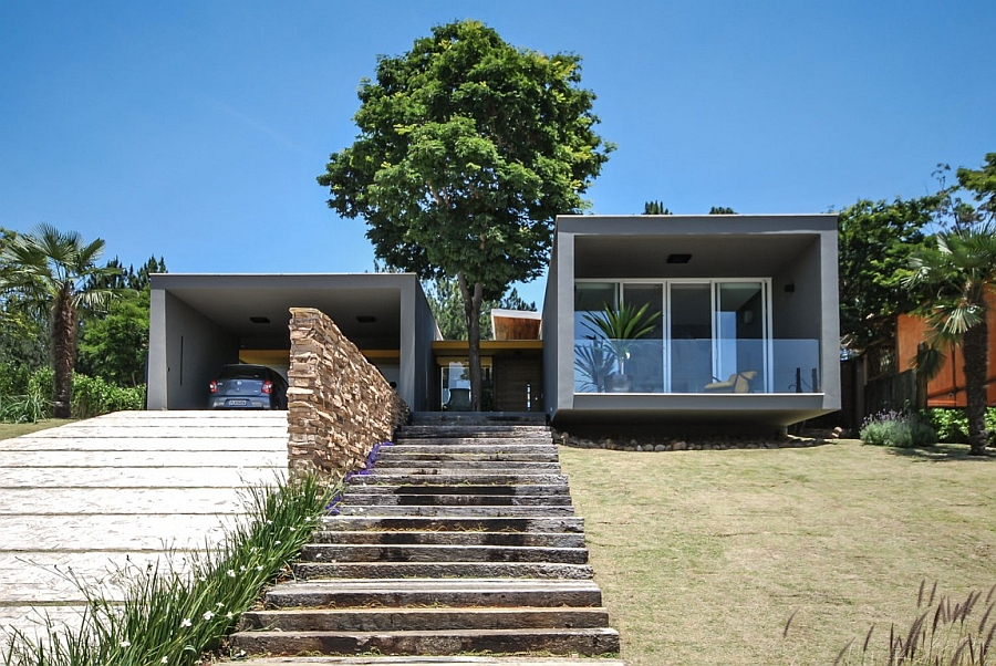 Stylish entrace to the private Sao Paulo Home cloaked in natural goodness