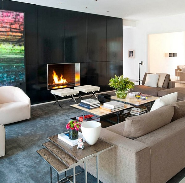 Stylish nesting tables act as a cool end table in the living room [By: R Brant Design]