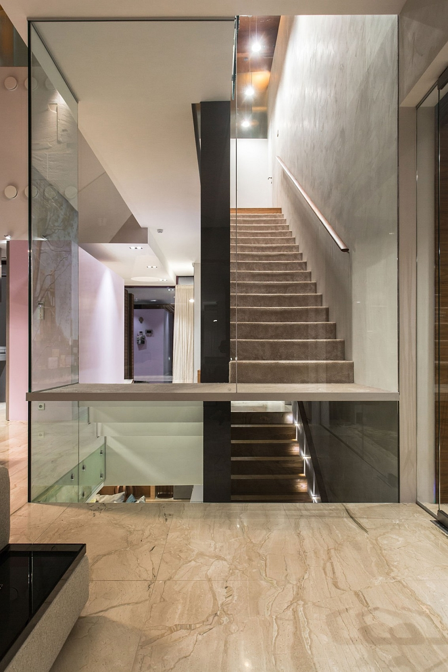 Stylish staircase connects the various levels of the home seamlessly