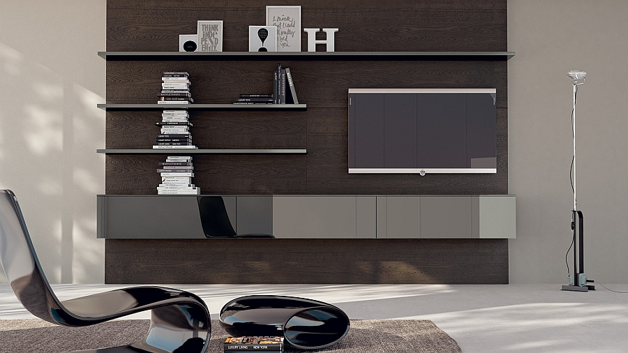 Suspended floating shelves and modular elements along with TV Unit