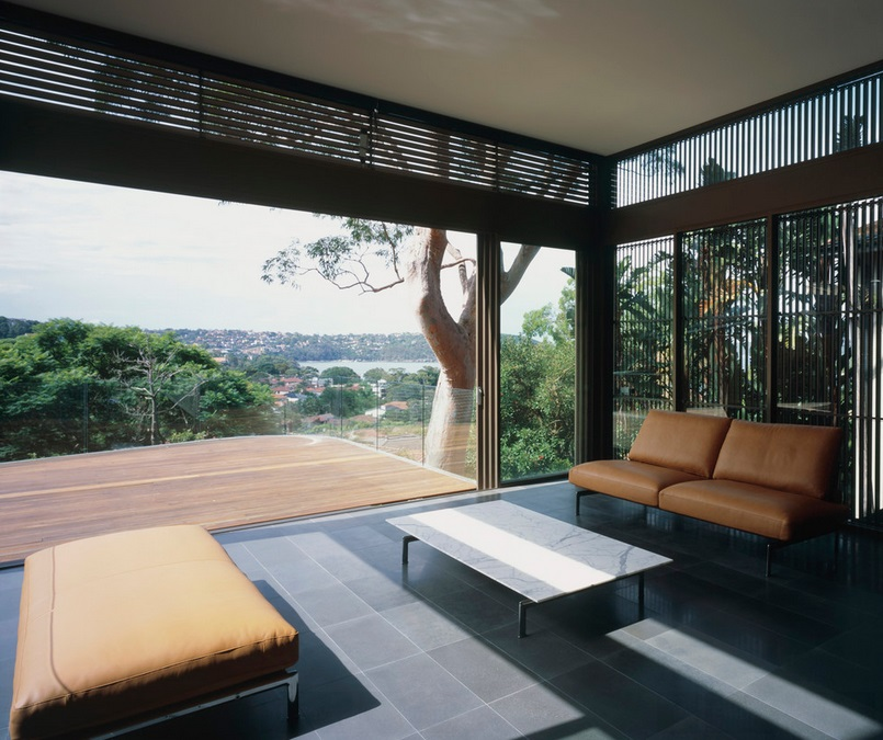 Sydney living area with aluminum louvres