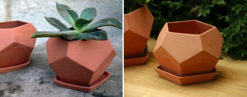 Terracotta geo planters