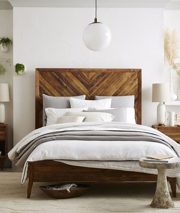 Textured bedroom with abundant plants
