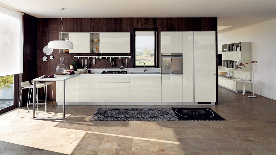 Trendy composition extends the hospitality of the living room into the kitchen