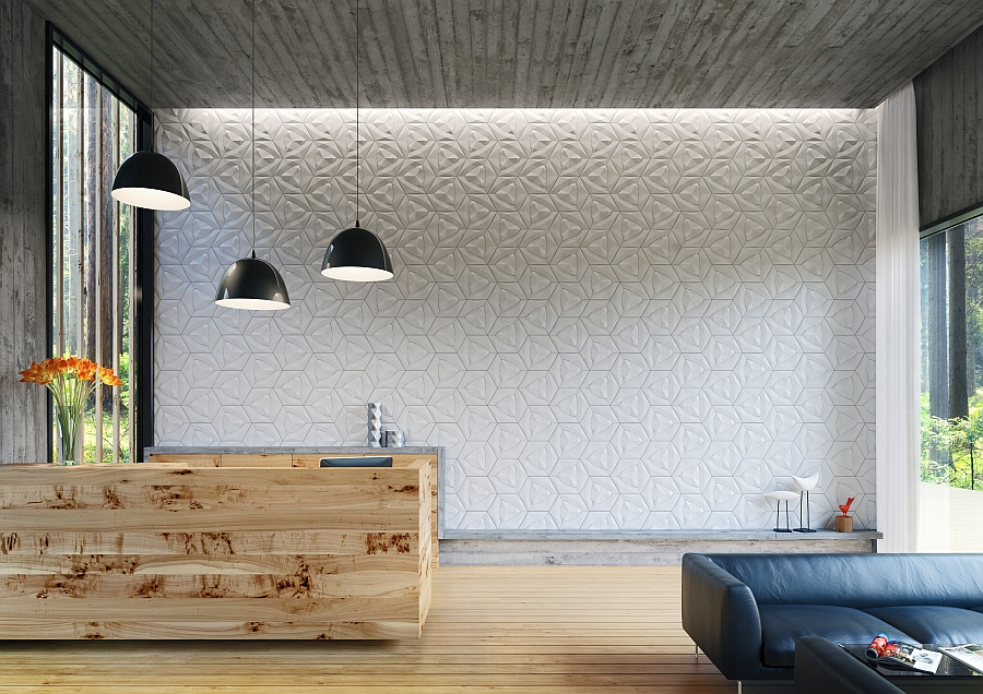 Trendy interior showcases wall with Cruck tile from Concurrent Constellations KAZA Unleashes Ornate Concrete Tile Collection With Geometric Brilliance