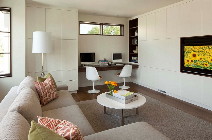 View In Gallery Turn The Living Room Corner Into A Productive Workspace Design Swan Architecture