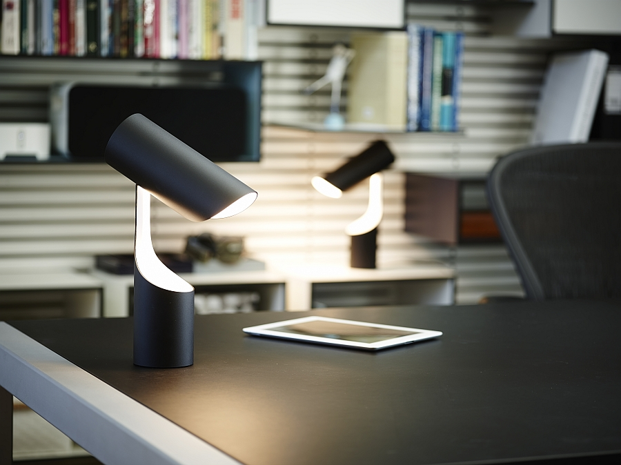 Twin table lamps with urbane design for the modern home office