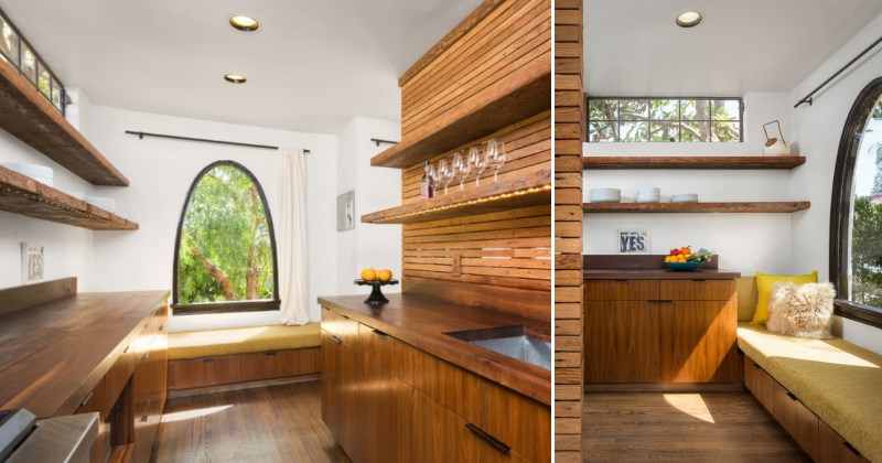 Two views of a window seat in an earthy modern kitchen