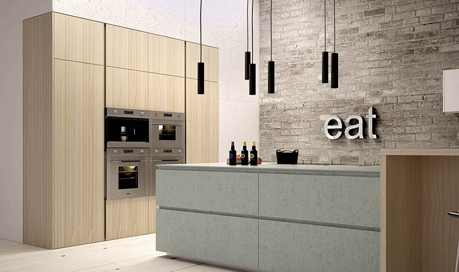 Unique modern kitchen composition witha  touch of the classic