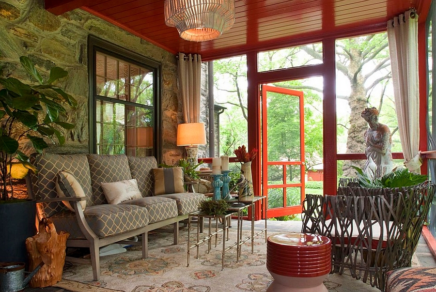 Vibrant porch with smart nesting tables at its heart [Design: Decorating Den Interiors / TopKat Photography]