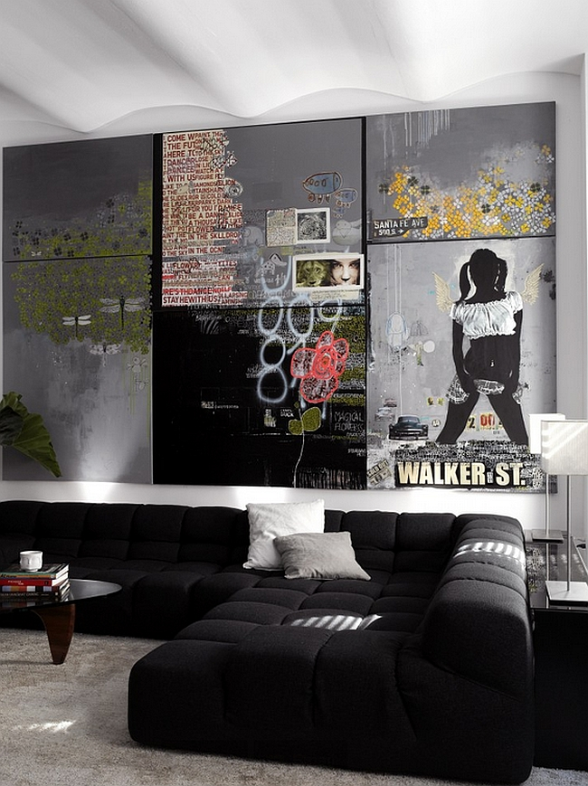 Wall art and ceiling give the room a urbane appeal