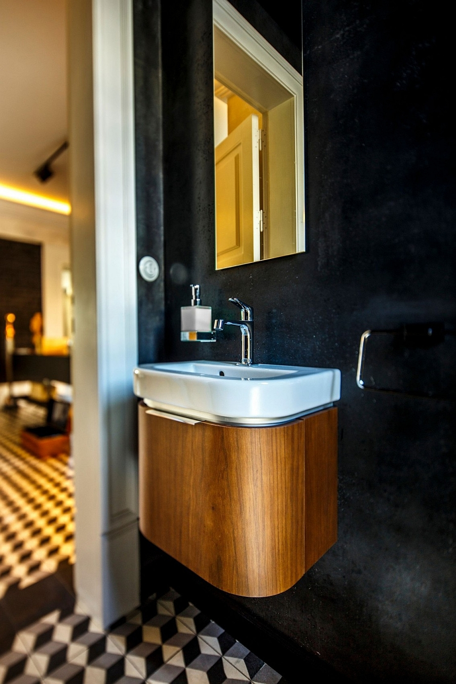 Wall mounted sink with wooden exterior