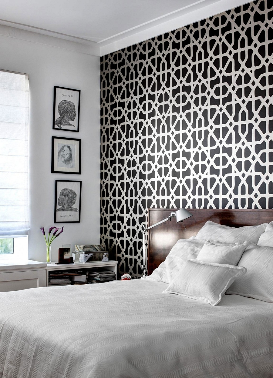 Wallpaper in bold pattern adds class to the serene bedroom