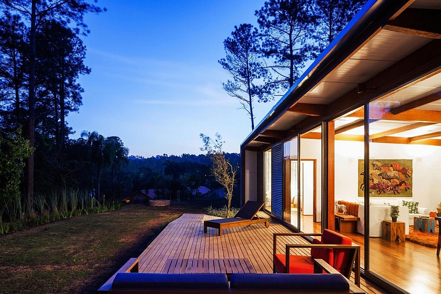 Warm lighting takes over at the summer vacation home after sunset