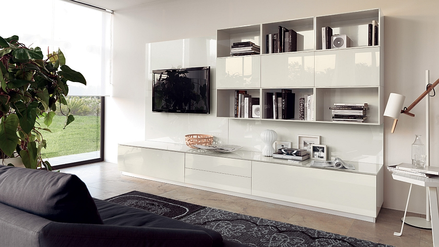 White living room wall unit with glossy lacquer finish