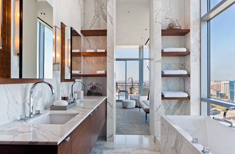 White marble bathroom with fresh towels