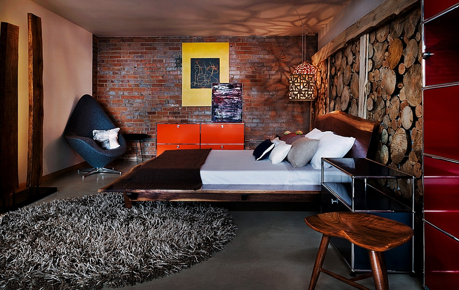 Wide array of colors and textures in the industrial bedroom [From: James Maynard- Vantage Imagery]