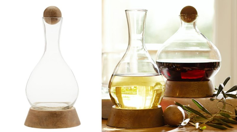 Wood and glass wine decanters from Pottery Barn