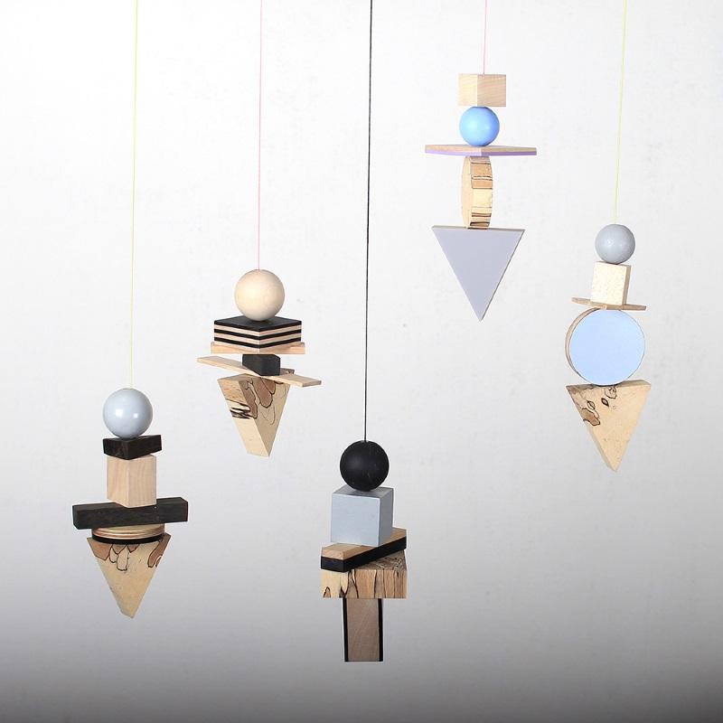Wooden geo mobiles