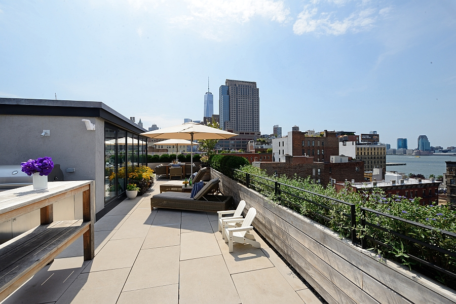 1500 square foot outdoor terrace with view of the Hudson river