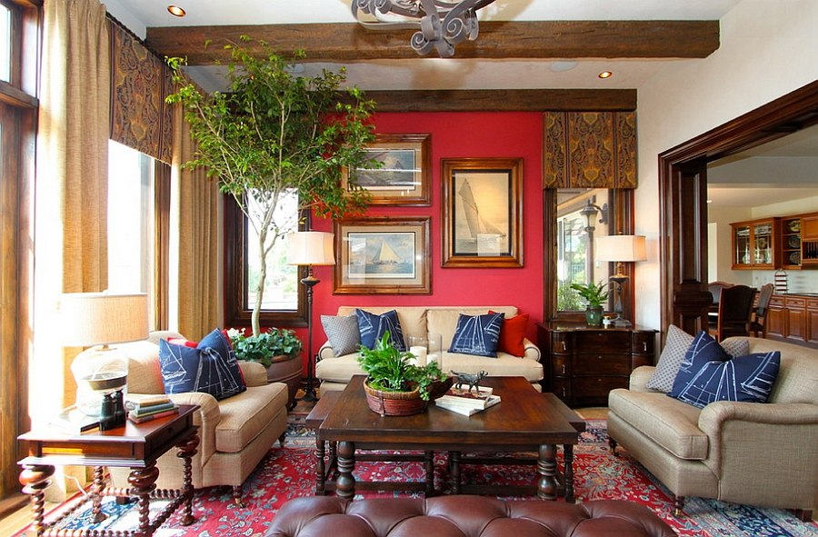 A blend of red and blue in the beautiful living room [Design: Robeson Design]