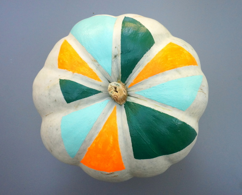 A geo painted pumpkin A DIY Pumpkin Decorating Idea
