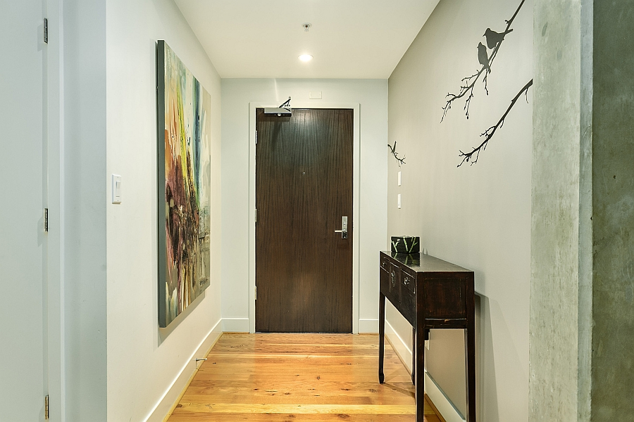 A look at the modern entry of the beautiful loft