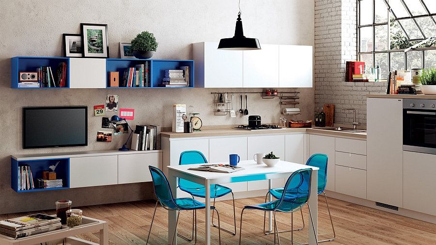 A trendy comniation of the kitchen and dining room for the small studio apartment