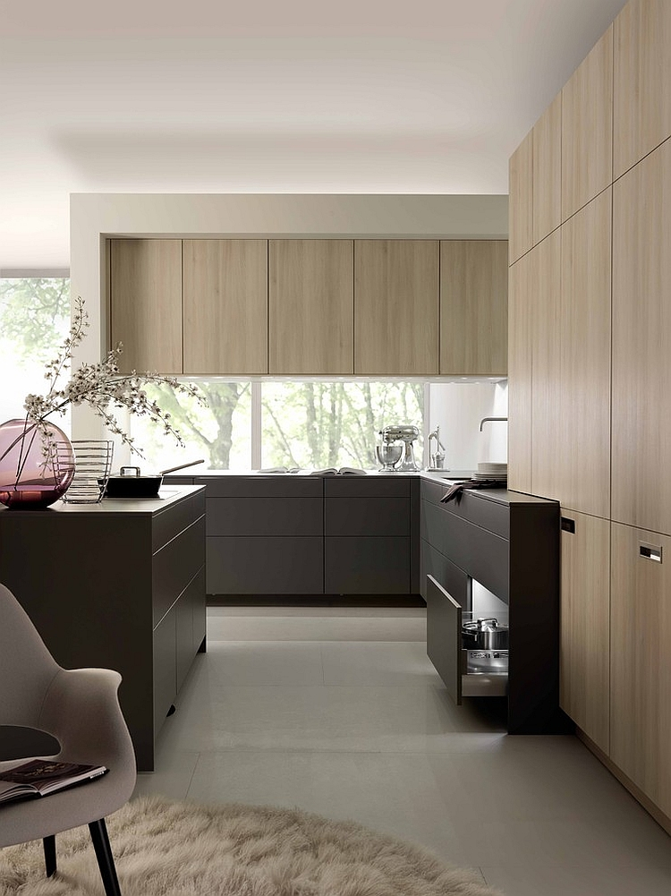 Acacia wood cabinetry gives the kitchen a calming look