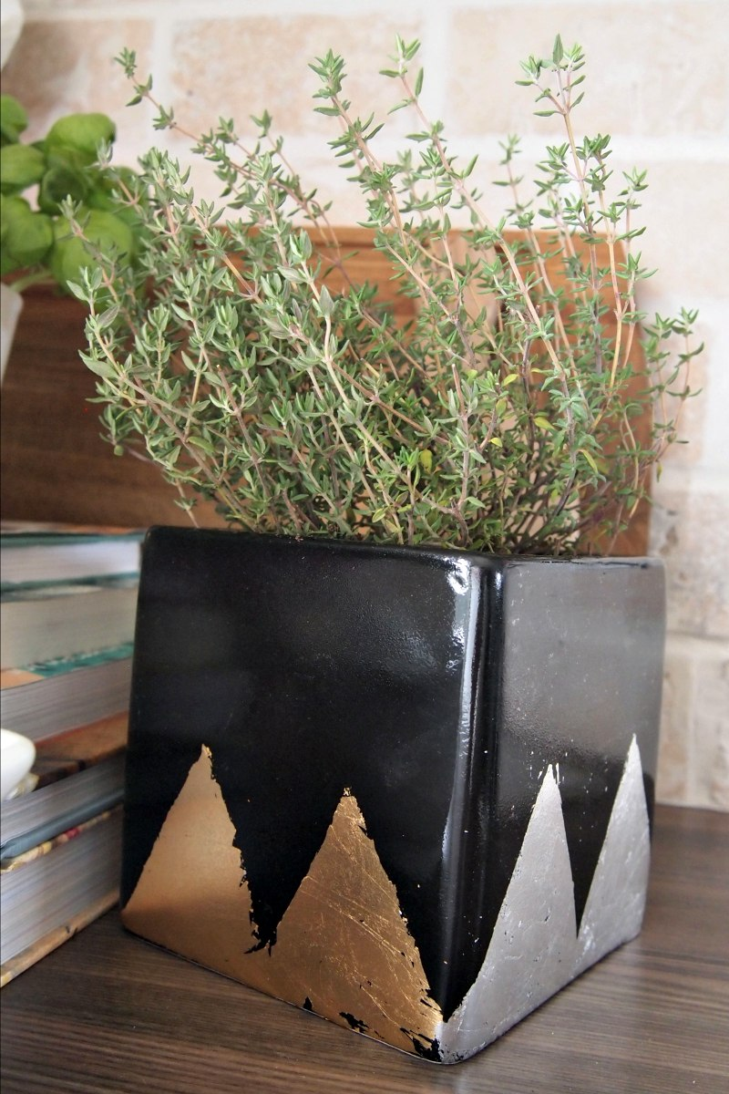 Add a hint of gold and silver with DIY Planter