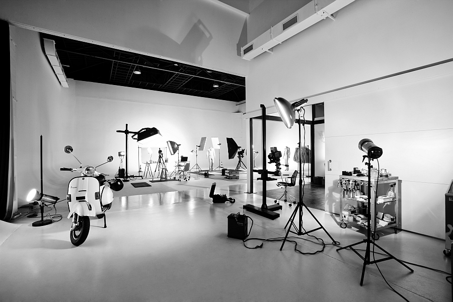 All white photo studio inside the transformed warehouse