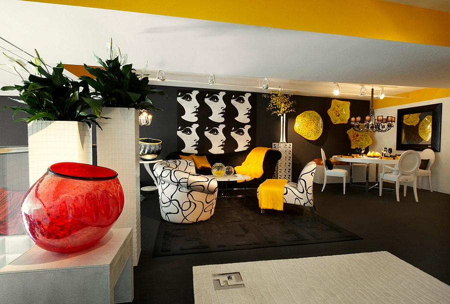 Artistic black and white living space with bold yellow accents [Design: Tracy Murdock Allied]