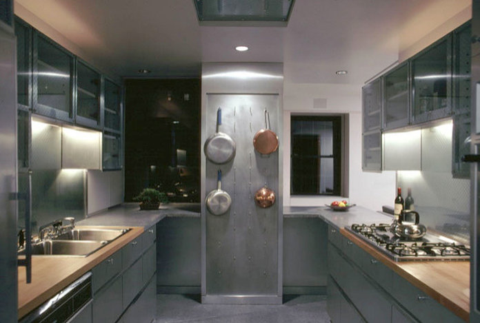 Artistic kitchen with stainless steel pots