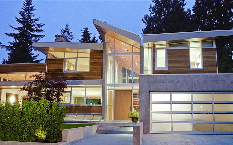 Balanced use of glass and wood gives the home an airy, inviting appeal